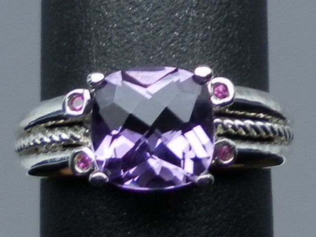 Vintage Natural Amethyst & Ruby Sterling Ring; FREE SIZING.