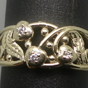 Vintage 14kt Diamonds Ring; FREE SIZING.