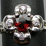 Vintage 14kt Red Spinel & Diamonds Ring; FREE SIZING