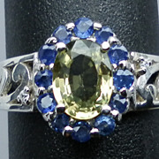 Vintage 14kt Green, Blue Sapphire and Diamonds Ring; FREE SIZING.