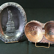 Occupied Japan Colo. Ash Tray & N.Y. Statue of Liberty Tip Tray/Ash Tray