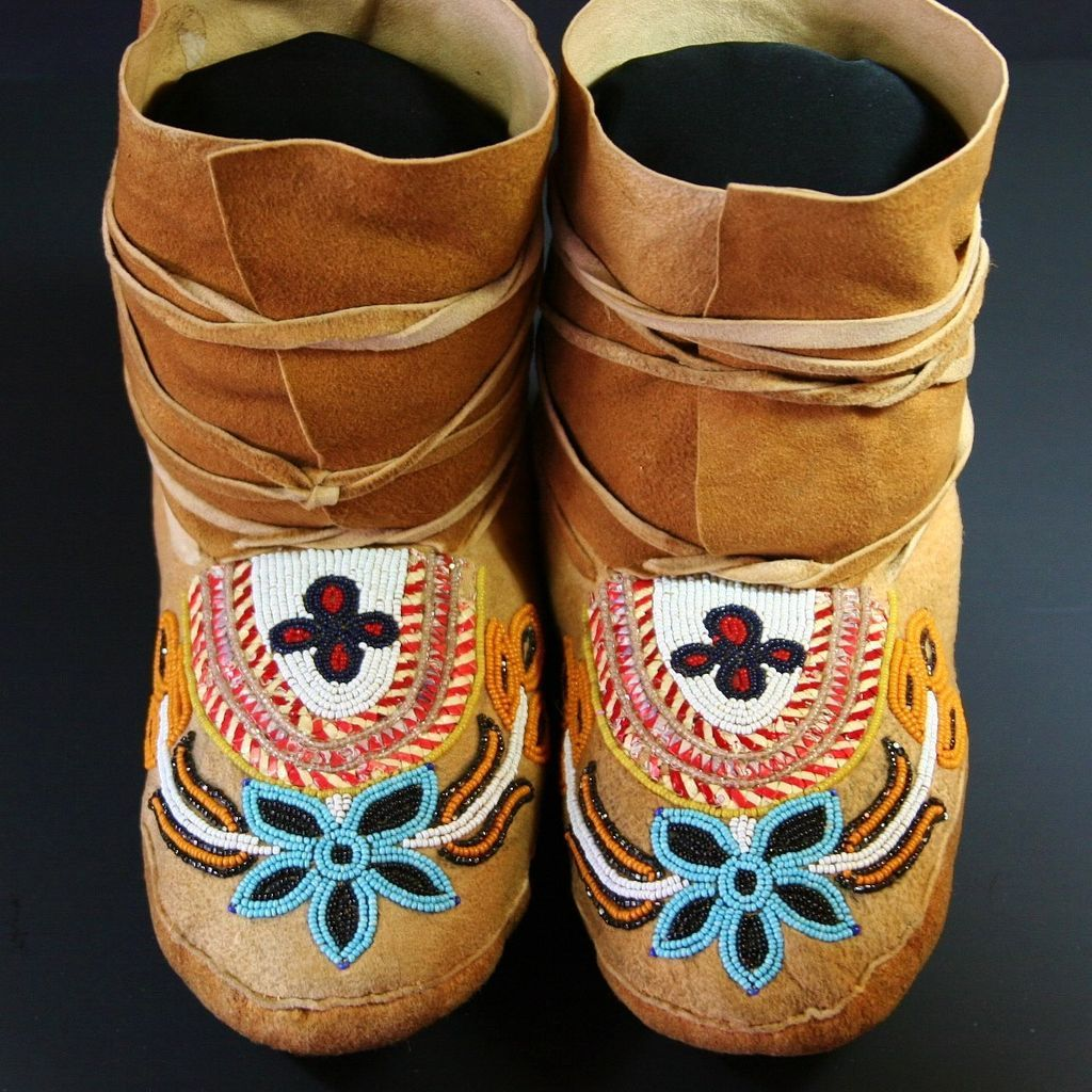 Native American Subarctic Quilled Amp Beaded Moccasins From