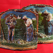 REDUCED Vintage Handpainted Bookends, Book Ends, Prayer