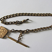 Vintage Rose Gold Plated Locket w/ Hair & Detailed Watch Fob Chain