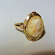 Victorian Era 10k Tri-Color Gold Genuine Cameo Ring