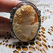 Outstanding Large Vintage Filigree Sterling Shell Cameo Pin Brooch