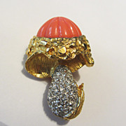 RARE Delightful Kenneth Jay Lane (KJL) Pave & Lucite 'Mushroom' Pin Brooch-Book Piece