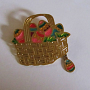 Sweet Vintage Goldtone-Enameled EASTER Basket Pin Brooch