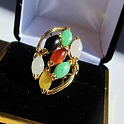 Vintage Large 14k 'Colors of Jade' Cocktail Ring