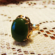 Large Vintage Estate Jade 14k Gold Ring-Sz 7.5