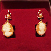 Gorgeous Vintage Genuine Shell Cameo & Pearl 14k Earrings