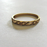 Estate Vintage 14k Gold Embossed Poesy Flower Wedding Band