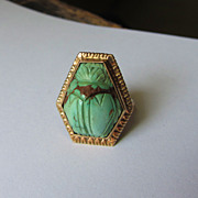 Beautiful Vintage Carved Turquoise SCARAB Beetle 14k Ring-Egyptian Revival