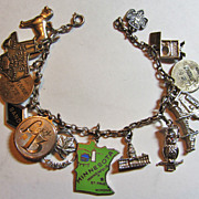 Vintage Estate (16) Sterling Multi Charm Bracelet circa: 1955