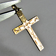 Beautiful Vintage Victorian Hand Etched 10k Gold Cross Pendant