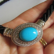 Retired Sterling Signed Judith Ripka Large Turquoise Enhancer w/ Silk Cord 925 Necklace