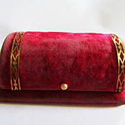 Vintage BULOVA Red Watch Box w/ Faux Pearl Closure-Fifth Avenue New York