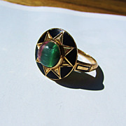 STUNNING Unique & Unusual Black Enameled Sunburst & Fluorite Gem 14k Ring