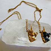 Intriguing Vintage Pair of 'Filly & Colt' Unicorn Necklaces
