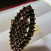 Glamorous Large art Deco Czech Bohemian Garnet 900 Silver Ring