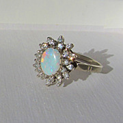 Stunning Deco Era Opal & Single Cut Diamond 14k White Gold Ring