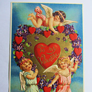 Beautiful Vintage German Valentine Postcard-unused-Mint Condition-Gold Embossed