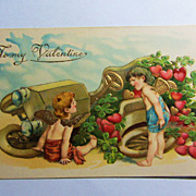 Sweet Vintage German Valentine's Day Cherub Postcard-Gold Embossed-