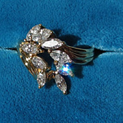 18k Vintage 1.00ct Cascading Marquise Diamond Dinner Ring