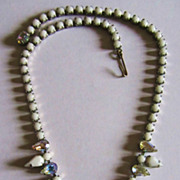 Fantastic Weiss  Milk Glass & Aurora-Borealis Rhinestone Necklace