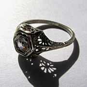 REDUCED Estate Heirloom Art Deco Topaz Solitaire 18k White Gold Filigree Ring