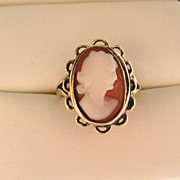Victorian 9ct Gold Genuine Shell Cameo Ring