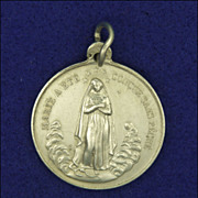 French  Large 19C Silver Virgin Mary and Sacred Heart Medal