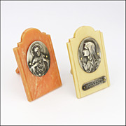 French Devotional Images on Bakelite Stands - Jesus and Mary