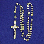 French Mother of Pearl and Silver Short Rosary