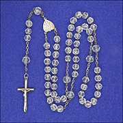 French Circa 1910 Crystal Glass & Silver Rosary with Crucifix