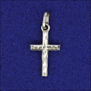 9 Carat White Gold Engraved Cross Charm