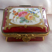 Antique French Hand Painted & Gilded Porcelain de Paris Burgundy Enamel Box