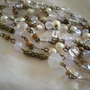SALE Art Deco Early Resin Opaline and Beaded Opera Length Necklace
