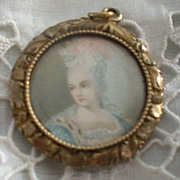 SALE Petite Antique Hand Painted Charm Portrait