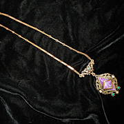 Victorian Revival Purple Art Glass and Metal Necklace