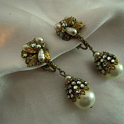 Gorgeous Miriam Haskell Long Drop Faux Pearl and Mirror Back Rhinestone Earrings, circa pre-19