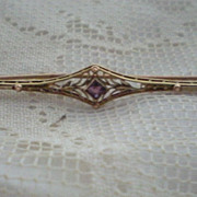 SALE Art Deco Gold and Amethyst Past Bar Pin