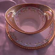 SALE Rare Signed by Mavaleix  Antique Limoges Custard or Small Condiment Dish with Tray