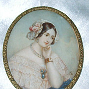 SALE Antique Watercolor Painting of a Georgian Lady