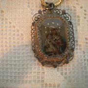 SALE Antique Micro Miniature of Jesus and Mary
