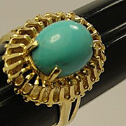 Estate 14K Turquoise Cabochon Ring