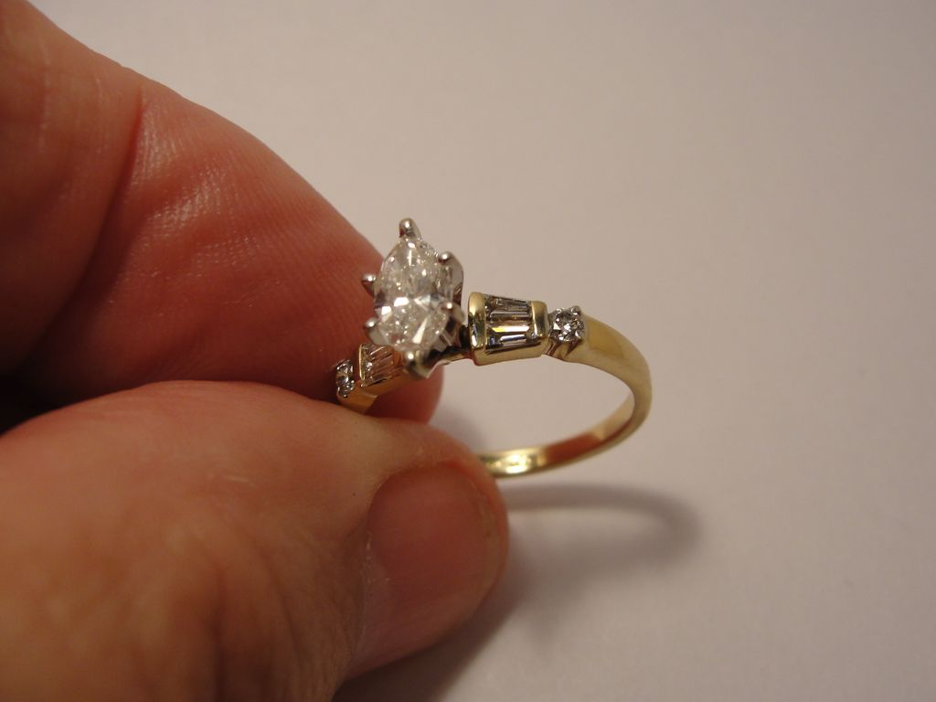 Estate 14K Marquise Diamond Ring