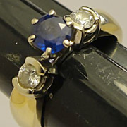 Estate 14K Sapphire and Diamond Ring