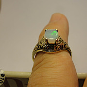 Vintage 14K Filigree Opal Ring