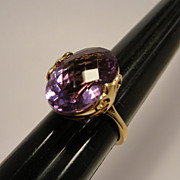 Vintage 14K Cushion Cut Amethyst Ring